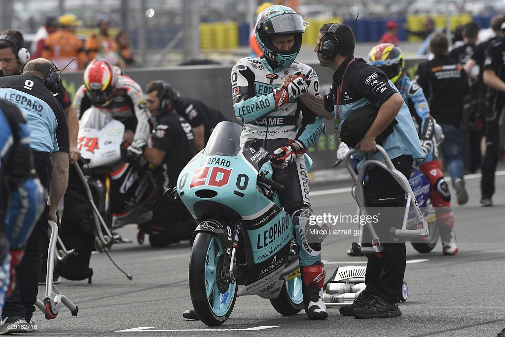 Fabio Quartararo of France and Leopard Racing prepares to start on the grid during the Moto3 race during the MotoGp of France - Race at on May 8, 2016 in Le Mans, France.