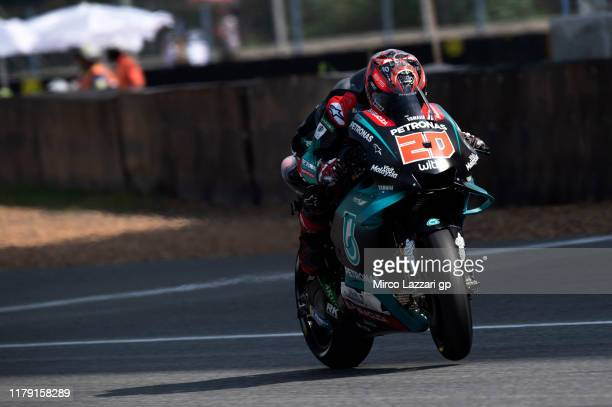 Fabio Quartararo of France and Petronas Yamaha SR heads down a straight during the MotoGP of Thailand Qualifying on October 05 2019 in Bangkok...