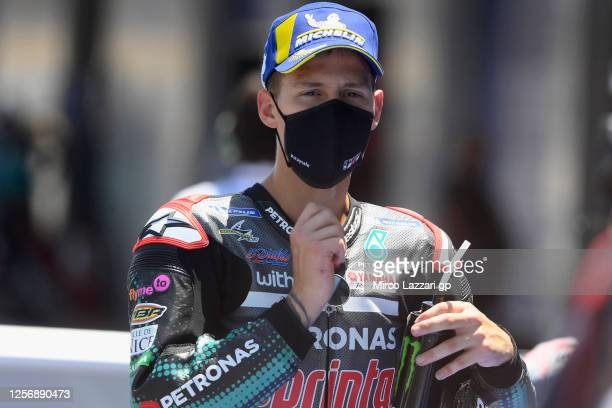 Fabio Quartararo of France and Petronas Yamaha SRT celebrates at the end of the MotoGP qualifying practice during the MotoGP of Spain Qualifying at...