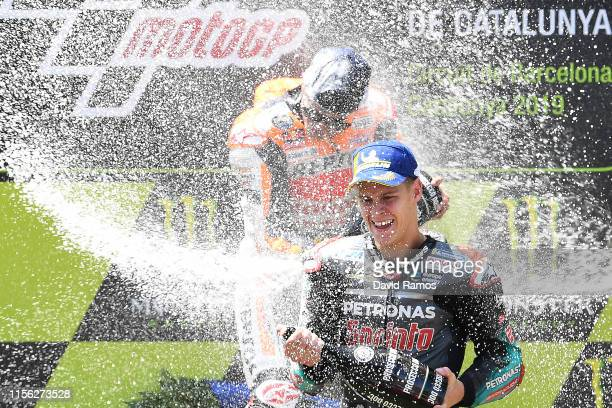 Fabio Quartararo of France and Petronas Yamaha SRT celebrates on the podium after finishing second during the MotoGP race during the MotoGP Gran...