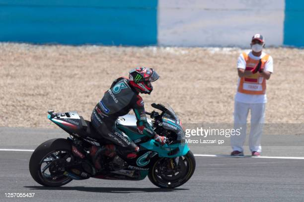 Fabio Quartararo of France and Petronas Yamaha SRT celebrates the victory at the end of the MotoGP race during the MotoGP of Spain Race at Circuito...