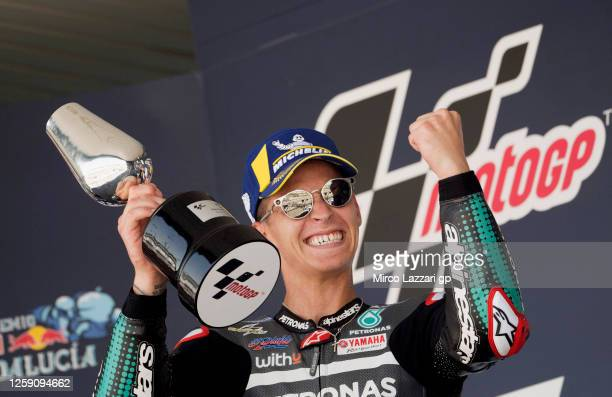 Fabio Quartararo of France and Petronas Yamaha SRT celebrates the victory on the podium during the MotoGP race during the MotoGP of Andalucia Race at...