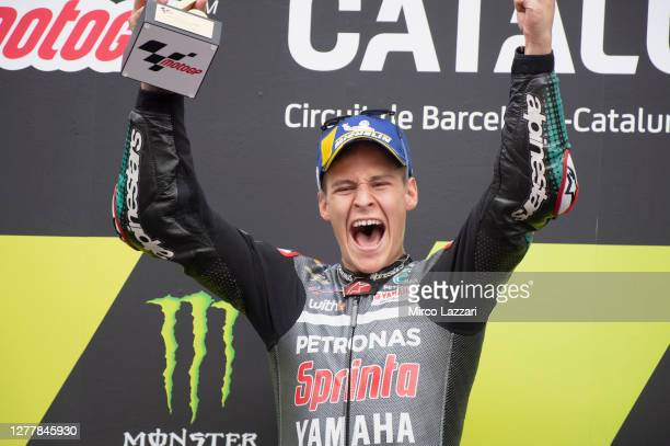 Fabio Quartararo of France and Petronas Yamaha SRT celebrates the victory on the podium at the end of the MotoGP race during the MotoGP of Catalunya:...