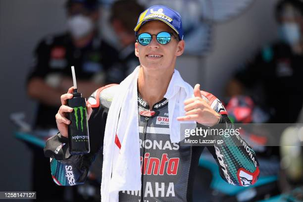 Fabio Quartararo of France and Petronas Yamaha SRT celebrates the MotoGP pole position at the end of the qualifying practice during the MotoGP of...