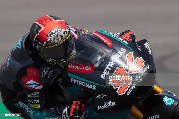 Fabio Quartararo of France and Petronas Yamaha SRT heads down a straight during the MotoGP Netherlands Free Practice on June 28 2019 in Assen...
