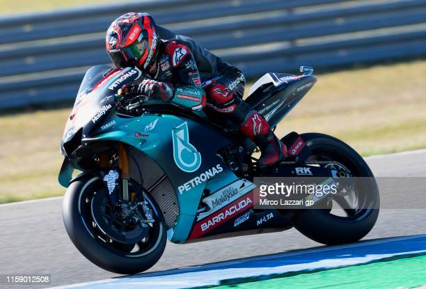 Fabio Quartararo of France and Petronas Yamaha SRT heads down a straight during the MotoGP Netherlands Qualifying on June 29 2019 in Assen Netherlands