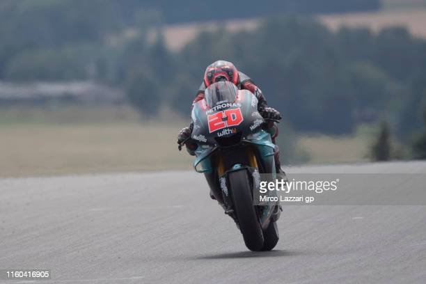Fabio Quartararo of France and Petronas Yamaha SRT heads down a straight during the MotoGp of Germany Qualifying at Sachsenring Circuit on July 06...