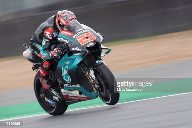 Fabio Quartararo of France and Petronas Yamaha SRT heads down a straight during the MotoGP of Thailand Free Practice on October 04 2019 in Bangkok...