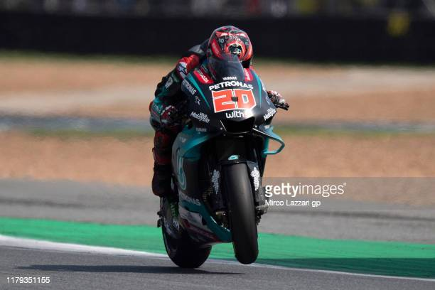 Fabio Quartararo of France and Petronas Yamaha SRT heads down a straight during the MotoGP race during the MotoGP of Thailand Race on October 06 2019...