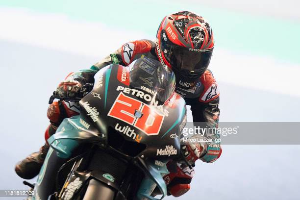 Fabio Quartararo of France and Petronas Yamaha SRT heads down a straight during the MotoGP of Japan Free Practice at Twin Ring Motegi on October 18...