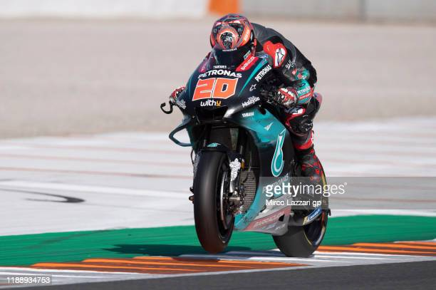 Fabio Quartararo of France and Petronas Yamaha SRT heads down a straight during the MotoGP Tests in Valencia at Ricardo Tormo Circuit on November 20...