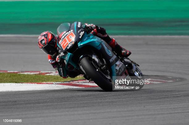 Fabio Quartararo of France and Petronas Yamaha SRT heads down a straight during the MotoGP PreSeason Tests at Sepang Circuit on February 07 2020 in...