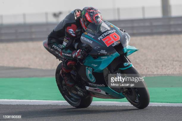 Fabio Quartararo of France and Petronas Yamaha SRT heads down a straight during the MotoGP Tests at Losail Circuit on February 23 2020 in Doha Qatar