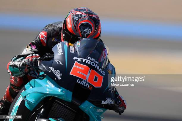 Fabio Quartararo of France and Petronas Yamaha SRT heads down a straight during the MotoGP tests at the Circuito de Jerez on July 15 2020 in Jerez de...