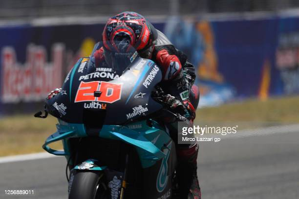 Fabio Quartararo of France and Petronas Yamaha SRT heads down a straight during the MotoGP of Spain Qualifying at Circuito de Jerez on July 18 2020...