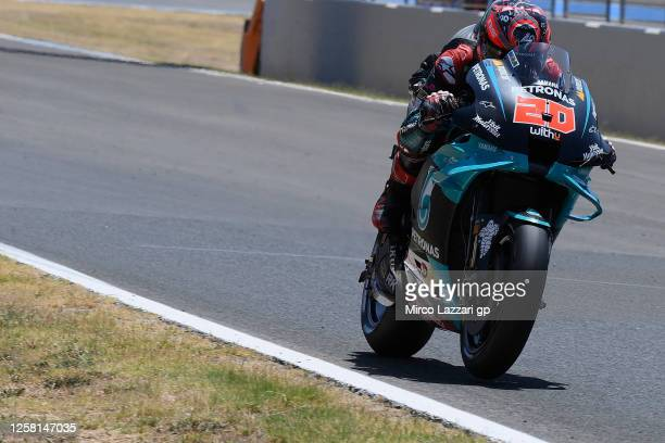 Fabio Quartararo of France and Petronas Yamaha SRT heads down a straight during the MotoGP of Andalucia Qualifying at Circuito de Jerez on July 25...