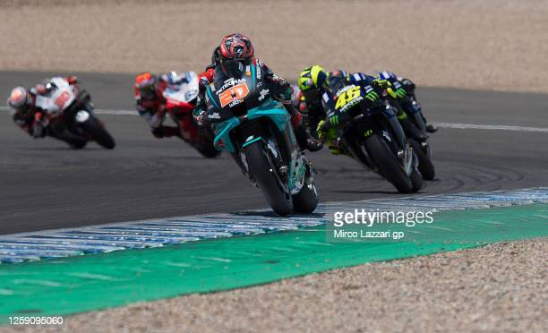 Fabio Quartararo of France and Petronas Yamaha SRT leads the field during the MotoGP race during the MotoGP of Andalucia Race at Circuito de Jerez on...