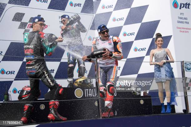 Fabio Quartararo of France and Petronas Yamaha SRT Maverick Vinales of Spain and Yamaha Factory Racing and Marc Marquez of Spain and Repsol Honda...
