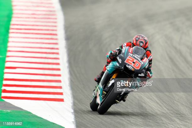 Fabio Quartararo of France and Petronas Yamaha SRT rides during the first MotoGP free practice session ahead of MotoGP Gran Premi Monster Energy de...
