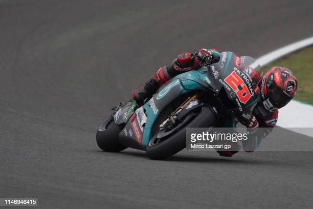 Fabio Quartararo of France and Petronas Yamaha SRT rounds the bend during the MotoGp of Spain Qualifying at Circuito de Jerez on May 04 2019 in Jerez...