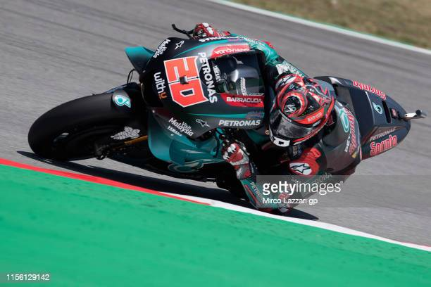 Fabio Quartararo of France and Petronas Yamaha SRT rounds the bend during the MotoGp of Catalunya Qualifying at Circuit de Catalunya on June 15 2019...