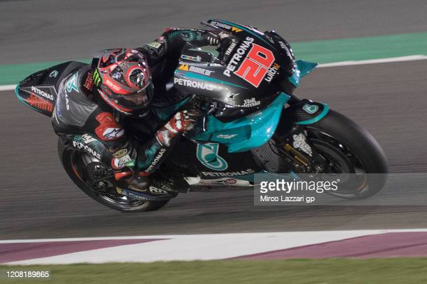 Fabio Quartararo of France and Petronas Yamaha SRT rounds the bend during the MotoGP Tests at Losail Circuit on February 23 2020 in Doha Qatar
