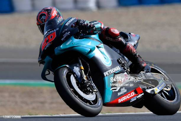 Fabio Quartararo of France and Petronas Yamaha SRT rounds the bend during the MotoGP of Spain Free Practice at Circuito de Jerez on July 17 2020 in...