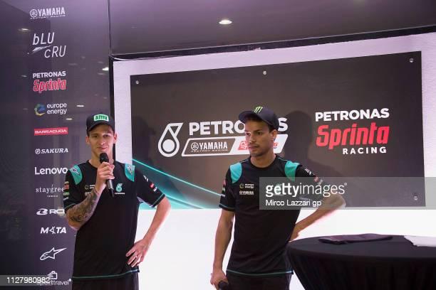 Fabio Quartararo of France and Petronas Yamaha SRT speaks and Franco Morbidelli of Italy and Petronas Yamaha SRT looks on during the media event of...