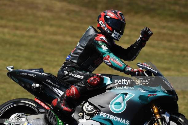 Fabio Quartararo of France and Petronas Yamaha SRT waves after winning the pole position during the MotoGP Qualifying ahead of MotoGP Gran Premi...