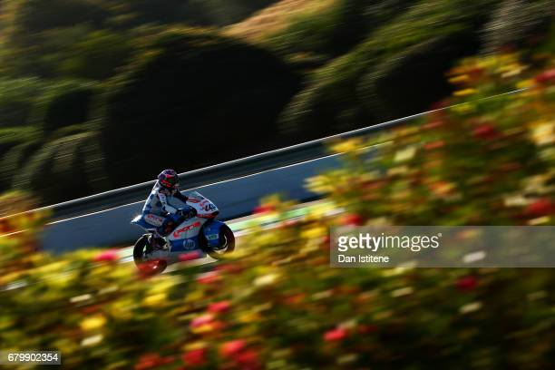 Fabio Quartararo of France and Pons HP40 rides during warmup for Moto3 at Circuito de Jerez on May 7 2017 in Jerez de la Frontera Spain