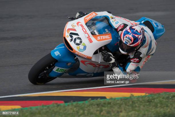 Fabio Quartararo of France and Pons HP40 rounds the bend during the Moto2 race during the MotoGp of Germany Race at Sachsenring Circuit on July 2...