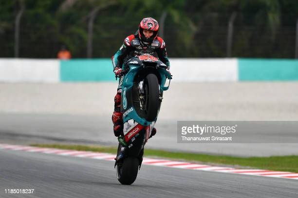 Fabio Quartararo of France and the Petronas Yamaha SRT celebrates winning the pole position after the qualifying of the MotoGP of Malaysia at Sepang...