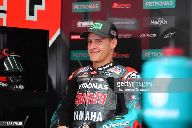 Fabio Quartararo of France and the Petronas Yamaha SRT is seen prior to the race of the MotoGP of Malaysia at Sepang International Circuit on...