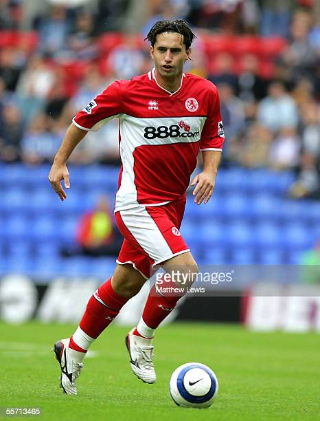 Fabio Rochemback of Middlesbrough in action during the Barclays Premiership match between Wigan Athletic and Middlesbrough at the JJB Stadium on...