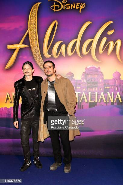 Fabio Rovazzi and Francesco Mandelli attend the Aladdin photocall and red carpet at The Space Cinema Odeon on May 15 2019 in Milan Italy