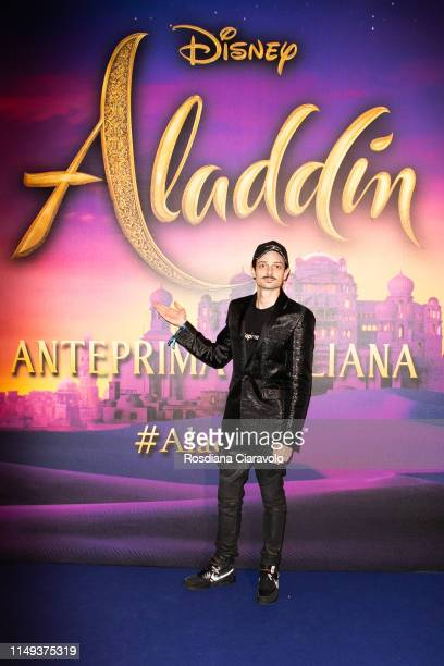 Fabio Rovazzi attends the Aladdin photocall and red carpet at The Space Cinema Odeon on May 15 2019 in Milan Italy