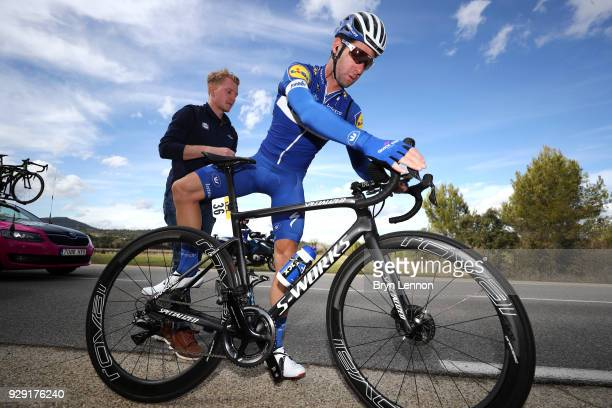 Fabio Sabatini of Italy and QuickStep Floors gets a bike repair during the 76th Paris Nice 2018 Stage 5 a 165km stage from SalondeProvence to...
