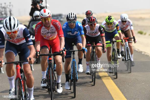 Fabio Sabatini of Italy and Team Cofidis & Alejandro Valverde of Spain and Movistar Team during the 3rd UAE Tour 2021, Stage 1 a 176km stage from Al...