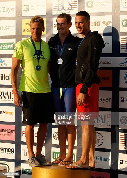 Fabio Scozzoli and Cameron van der Burgh during the Swimming Cup 2016 at the Aspria Harbour Club of Milan on june 28 2016 in Milan Italy