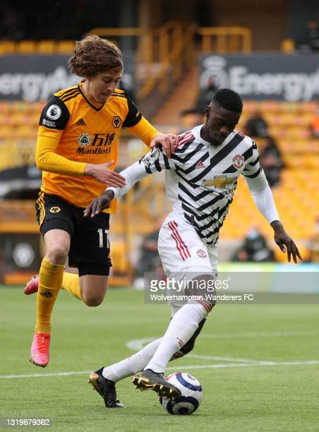 Fabio Silva of Wolverhampton Wanderers battles for possession with Axel Tuanzebe of Manchester United during the Premier League match between...