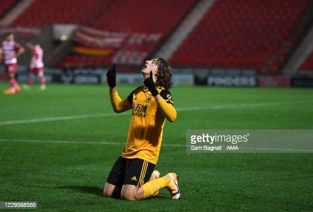 Fabio Silva of Wolverhampton Wanderers celebrates after scoring a goal to make it 0-1 during the EFL Trophy match between Doncaster Rovers and...