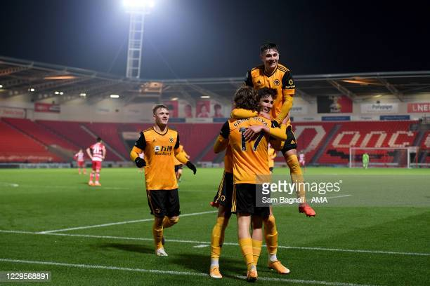 Fabio Silva of Wolverhampton Wanderers celebrates after scoring a goal to make it 1-2 during the EFL Trophy match between Doncaster Rovers and...