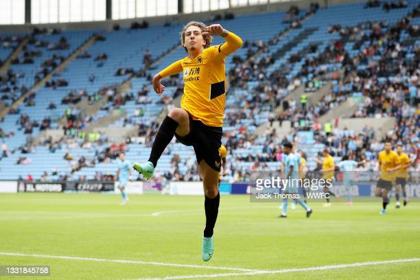 Fabio Silva of Wolverhampton Wanderers celebrates after scoring his team's first goal during the Pre-Season Friendly between Coventry City and...