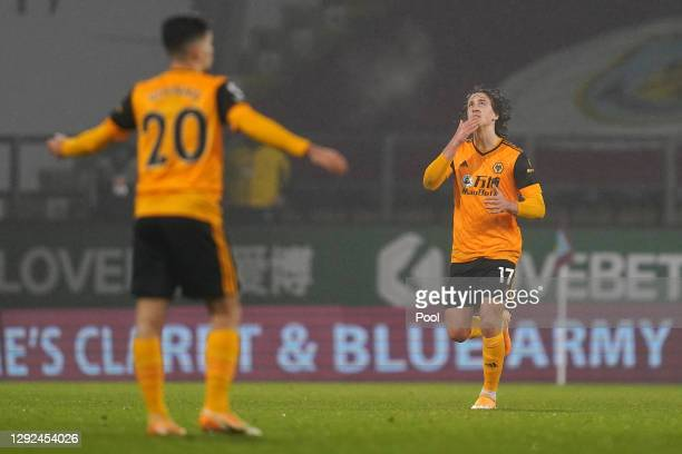 Fabio Silva of Wolverhampton Wanderers celebrates after scoring their team's first goal from the penalty spot during the Premier League match between...