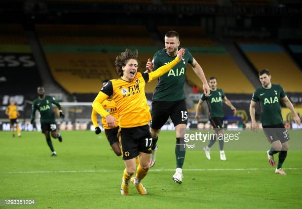 Fabio Silva of Wolverhampton Wanderers goes down in the box from a challenge by Eric Dier of Tottenham Hotspur which was not given as a penalty...