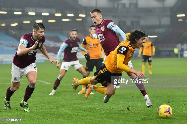 Fabio Silva of Wolverhampton Wanderers is fouled in the box by Aiden O'Neill of Burnley which leads to a penalty awarded to Wolverhampton Wanderers...