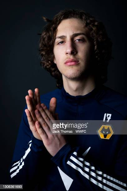 Fabio Silva of Wolverhampton Wanderers poses for a portrait at Sir Jack Hayward Training Ground on March 10, 2021 in Wolverhampton, England.