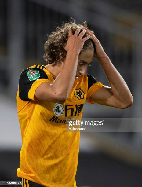 Fabio Silva of Wolverhampton Wanderers reacts after missing a scoring opportunity during the Carabao Cup second round match between Wolverhampton...