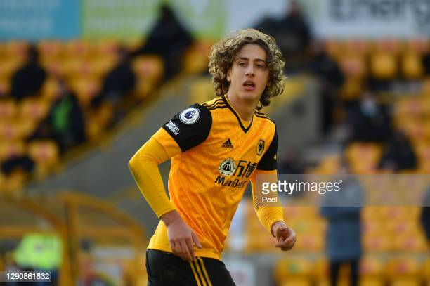 Fabio Silva of Wolverhampton Wanderers runs on during the Premier League match between Wolverhampton Wanderers and Aston Villa at Molineux on...