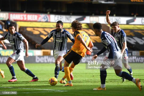 Fabio Silva of Wolverhampton Wanderers scores a goal to make it 1-1 during the Premier League match between Wolverhampton Wanderers and West Bromwich...